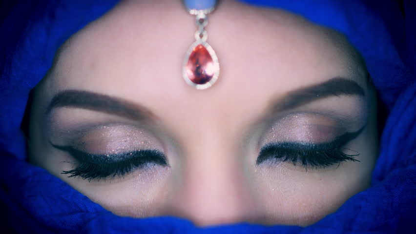 4k Colourful Arabic Woman Opening Eyes Close-up with Veil