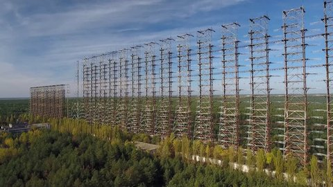 Duga, the Steel Giant, Moscow's Eye near Chernobyl. This is a Soviet Union over-the-horizon radar system also known as The Russian Woodpecker. Aerial view Oct 2016.