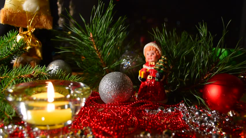 Christmas celebration background. Christmas, advent collage with tree branches, candle, christmas balls and decoration. Candle light at background of christmas decoration. Merry Christmas background. #20626228