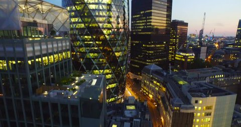 London, England; Skyline aerial drone footage.