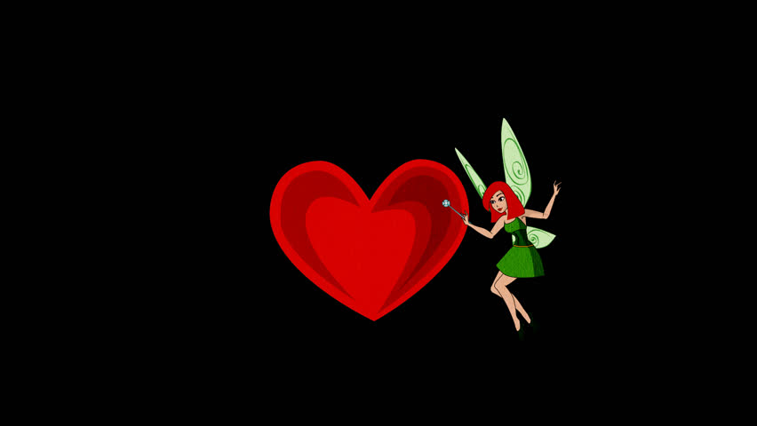 Cartoon. Fairy flying , waves his magic wand and flies,Flying fairy makes the heart,  St. Valentine's Day, Alpha Channel