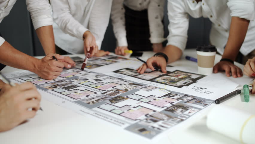 Business startup education and people concept creative business people group on meeting and presentation in bright modern office with construction engineer architect and malvernweather Gallery