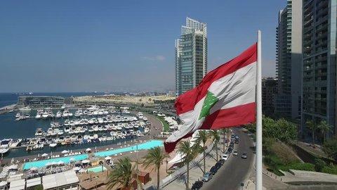 RAW Lebanon flag slow motion