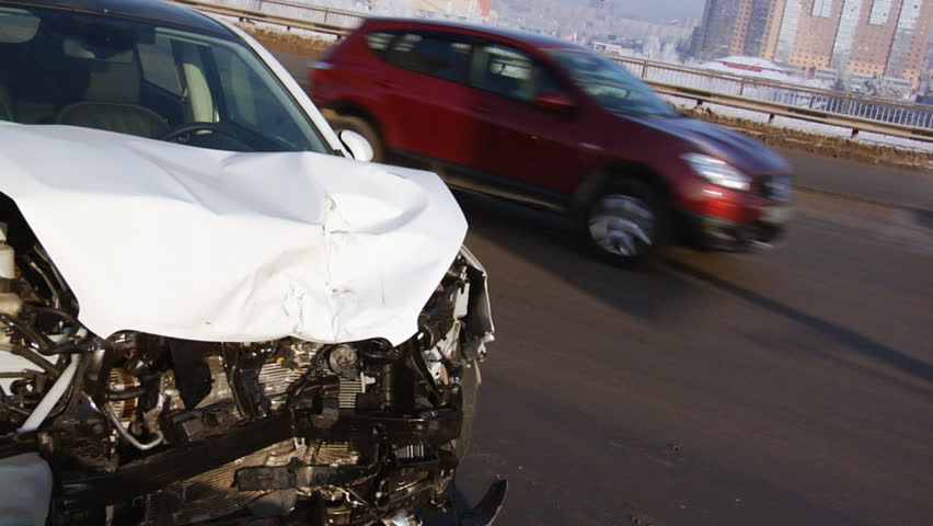 Road accident. Car crash. Broken car.