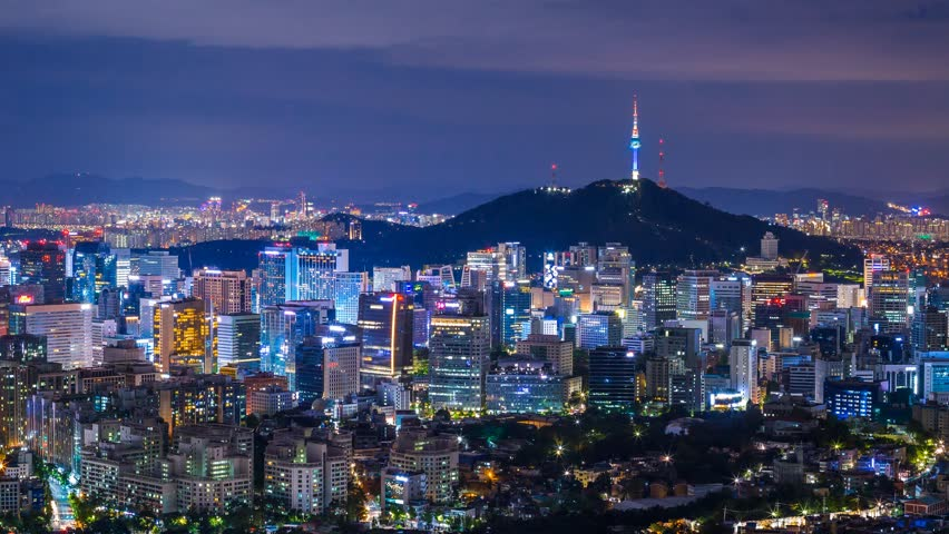 Beautiful city in night, cityscape of Seoul, South Korea, Seoul tower modern building and architecture at nighttime