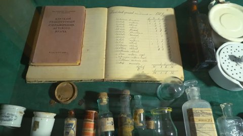 Handwritten Journal Pharmacist With Written Diseases, Recipes, Name Drugs. Ancient Manuscripts Have Preserved the Knowledge of the Old Doctors and Ways to Deal With a Variety of Diseases and Problems