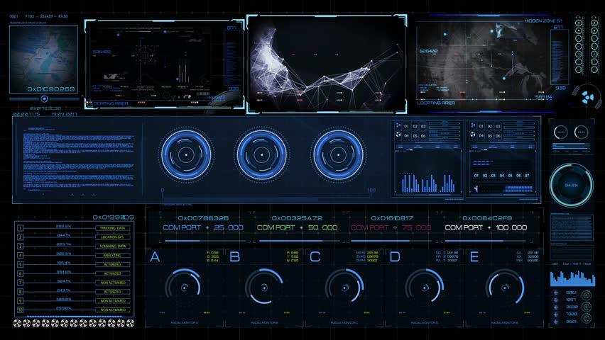 Futuristic multi screen gadget panel
