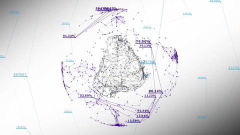 Global Business Network with Numbers and Percentages on White. 3d seamless animation of Technology Concept. Looped. HD 1080.