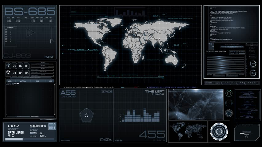 Futuristic control panel. Monitoring on HUD multi-windows with ui elements Cyber map, progress, targeting and locating objects with GPS navigation, data, timecode  and futuristic ui elements
