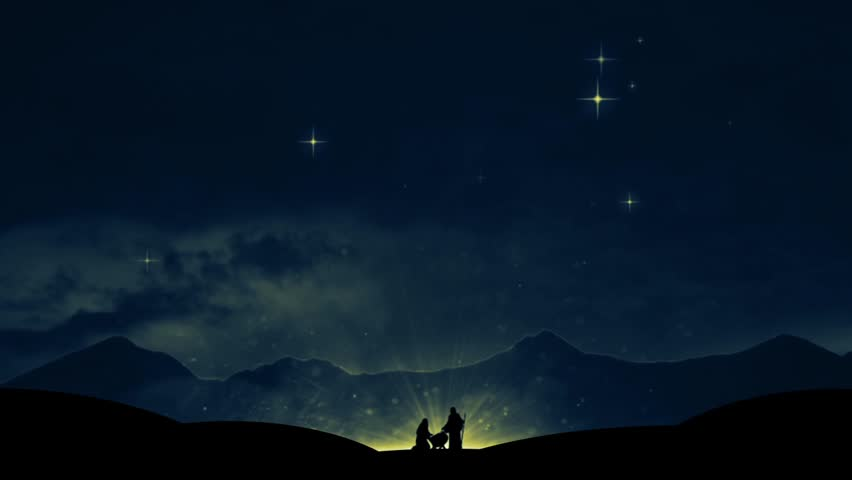 christmas background featuring mary and joseph on their