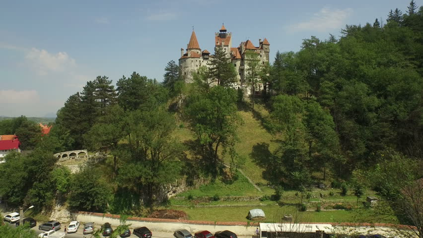 Aerial view of Bran Castle, Mystic place, Medieval castle, also known as Dracula castle, in Brasov, Transylvania | Shutterstock HD Video #20902636