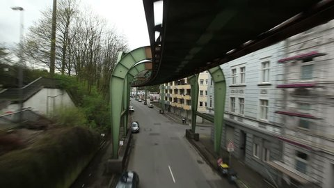 WUPPERTAL, GERMANY, APR 10, 2012: Ride with the aerial tramway in Wuppertal