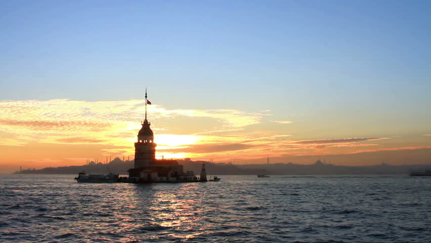 Sunset and reflections. Kizkulesi, Istanbul.