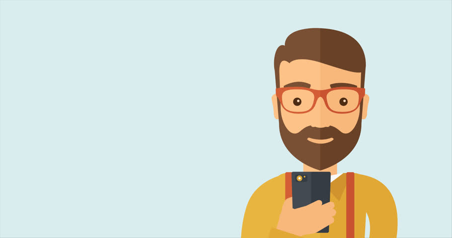 Young caucasian hipster man with the beard social media browsing using his smartphone. Handsome smiling happy man using smartphone device. Flat design animation 4K footage with a space for a text. | Shutterstock HD Video #20989126