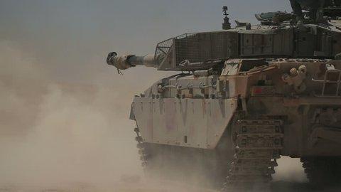 Battle tank shot. 2 shot. M1 Abrams