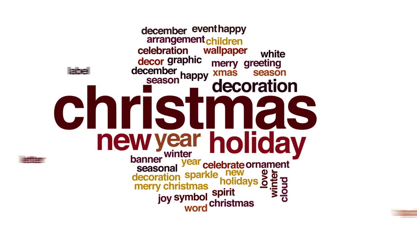 Christmas Animated Word Cloud. Flying Words. Stock Footage Video ...