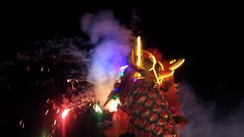 Chinese dragon performing at night