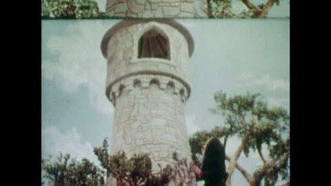 ANIMATED 1950s: Rapunzel throws down her hair for witch. Young man sees Rapunzel and her long hair. Young man falls in love with Rapunzel.