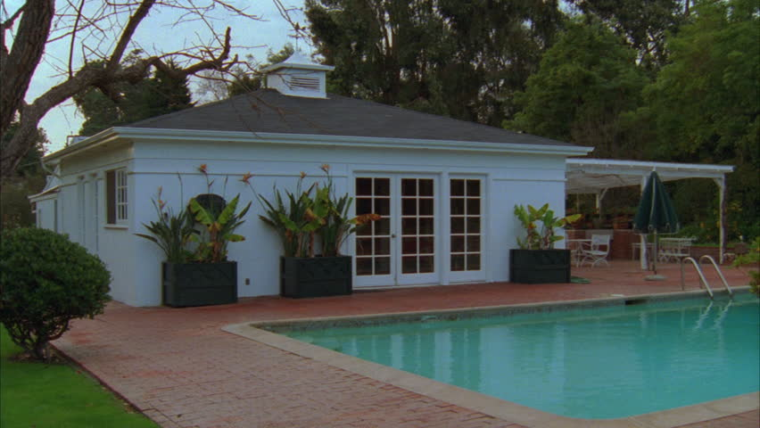 Day Raked Left Nice Small White Backyard Guest House Pool House French  Doors Next Pool