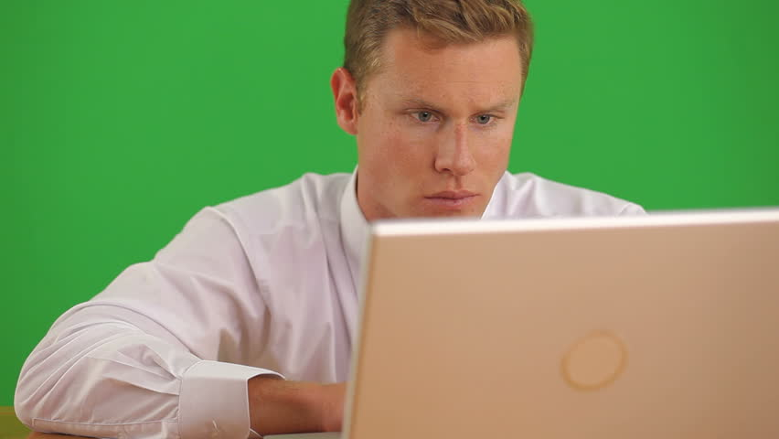 Close up of businessman on laptop computer getting bad news