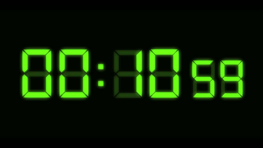 Computer generated animation of digital alarm clock LEDs counting down from ten seconds.