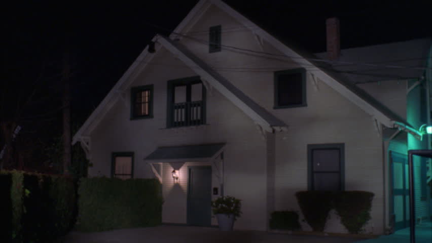 Night Tight Raked Right 2 Story Beige Craftsman Style House Awning Over Door    HD Stock