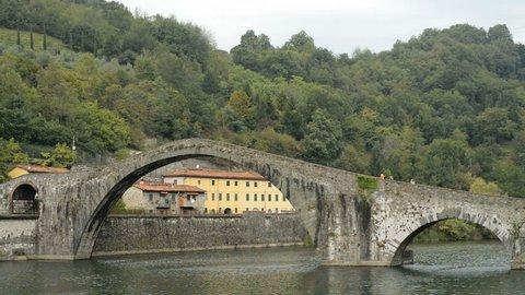 Ponte del Diavolo or Ponte della Maddalena, Borgo a Mozzano, Lucca, Tuscany, Italy, Europe
