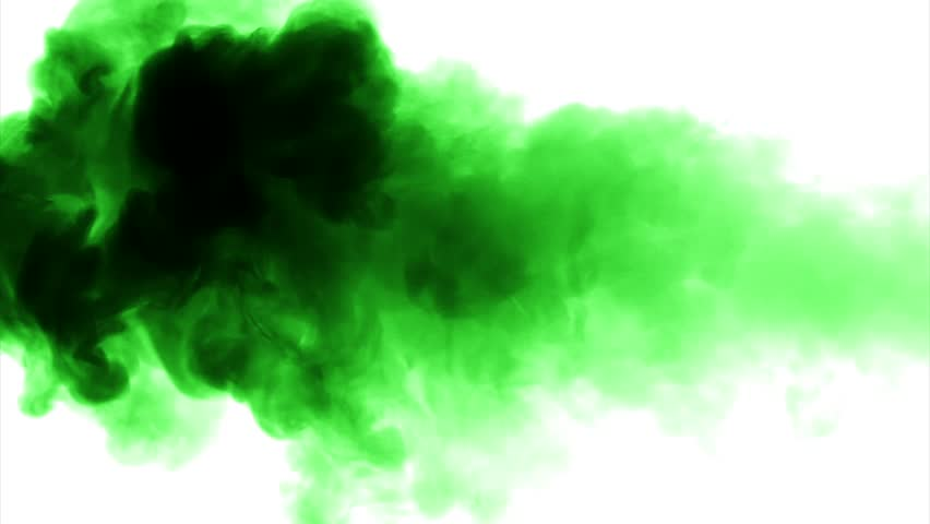 green cloud smoke    ink on water on white background stock