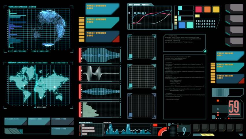 Hi-tech user interface head up display for background computer desktop screen display.