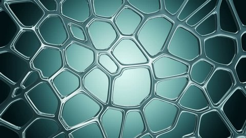 Animation of surface from organic glass as molecules or network. Animation of seamless loop.