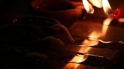Candles and oil lamps (Deepak). Deepavali