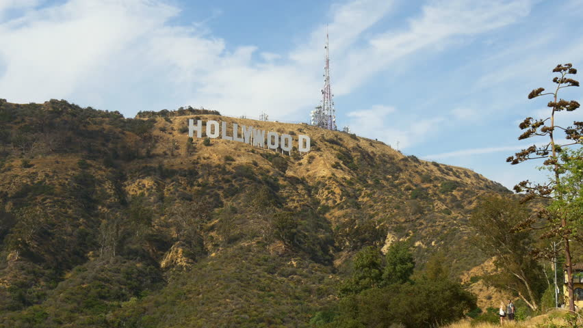 summer day famous los angeles hollywood hills sign panorama 4k usa