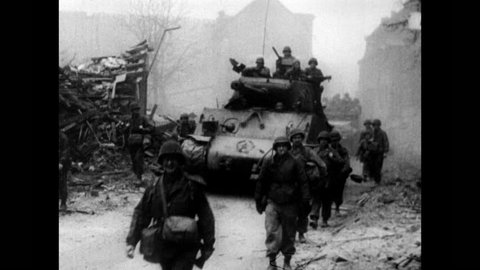 General George Patton's Third Army on its way to north towards Bastogne to counterattack during Battle of the Bulge, Ardennes, Belgium, Luxembourg circa December, 1944