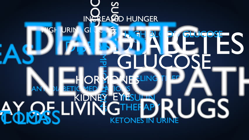 Diabetes, glucose, disease, insulin word tag cloud - blue, English variant, 3D rendering, UHD | Shutterstock HD Video #21274366