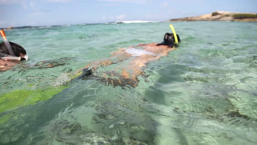 Couple doing snorkeling in Caribbean sea