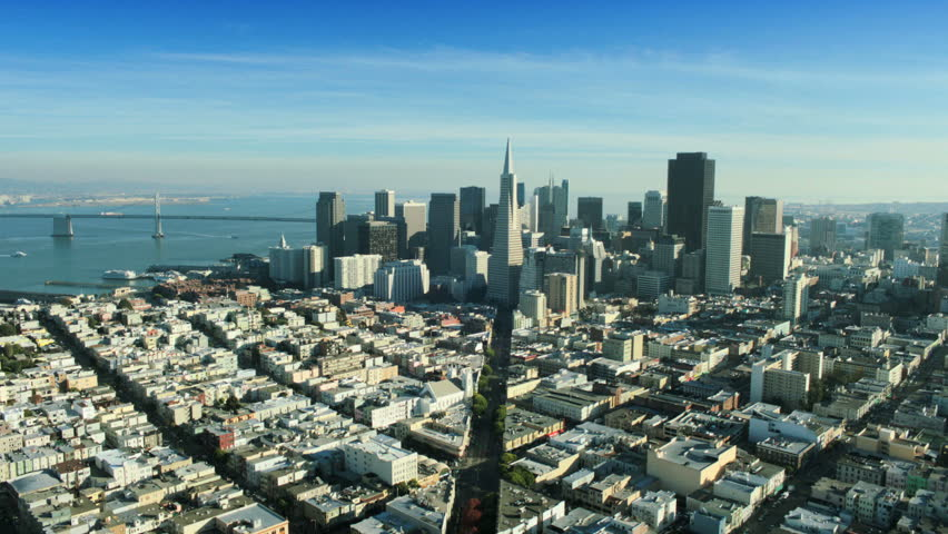 Aerial view of the Transamerica Pyramid building and the city of San Francisco, California, North America, USA