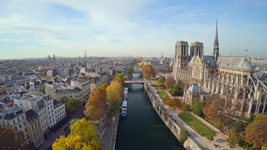 Aerial view of Paris with Notre Dame cathedral | Shutterstock HD Video #21298456