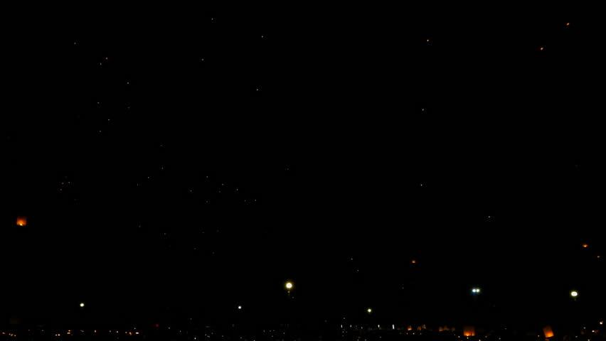 SANSAI, CHIANGMAI, THAILAND - NOV 14: Yee Peng Festival, Loy Krathong celebration with more than a thousand floating lanterns in Chiangmai, Thailand on November 14, 2016