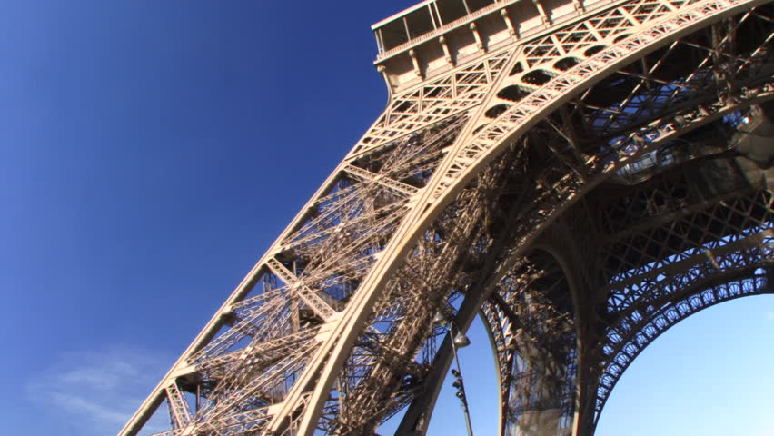 Low angle PAN up of Eiffel Tower, Paris, France