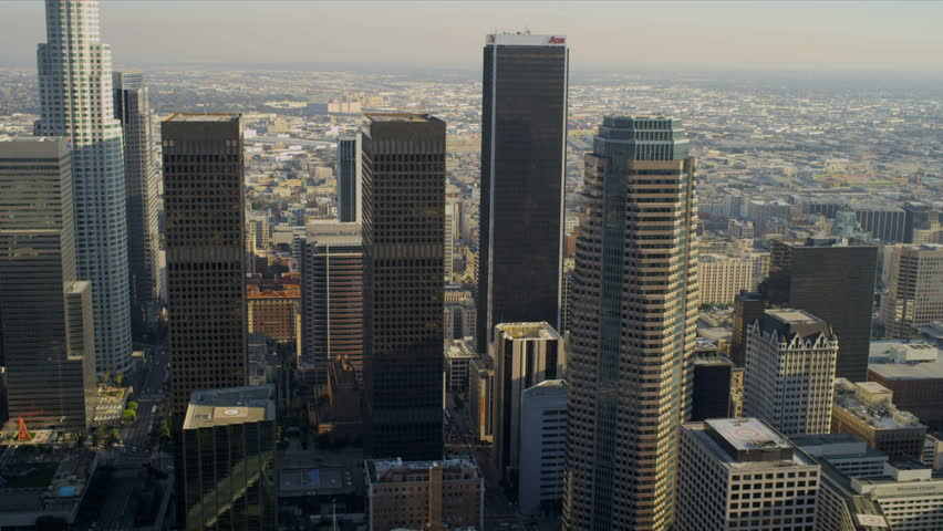 Aerial view of downtown LA skyscrapers on January 1, 2012.  | Shutterstock HD Video #2131166
