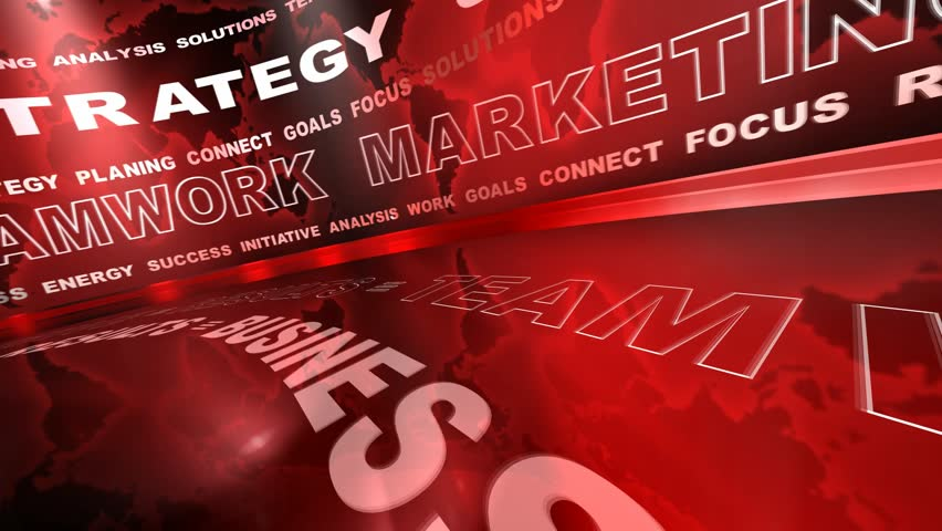Business oriented words animation on red background (loop)
