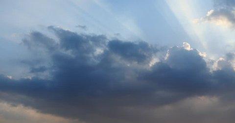 4k Panoramic of dark altocumulus clouds smoke slowly flying in cloudy sun ray sky timelapse.high cumulus cloud,mackerel sky. gh2_08564_4k