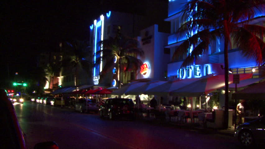 Time Lapse At Night Of Miami Beach Stock Footage Video 2135696