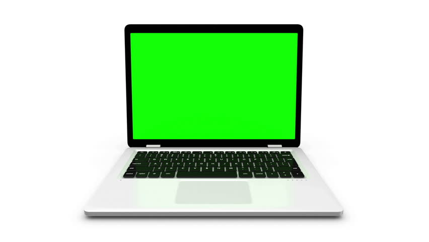 Modern laptop appear from different positions isolated on white.  Animation with green screen. #21373396