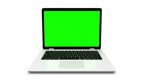 Modern laptop appear from different positions isolated on white.  Animation with green screen.