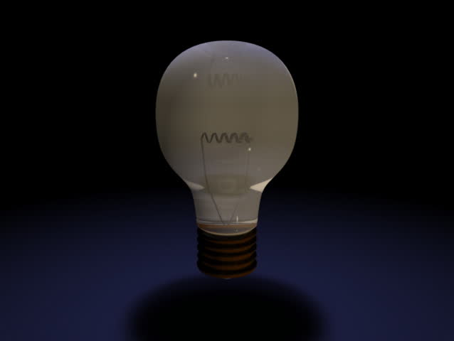 Computer-generated 3D animation depicting a light bulb turning on and off (concept: a bright idea)