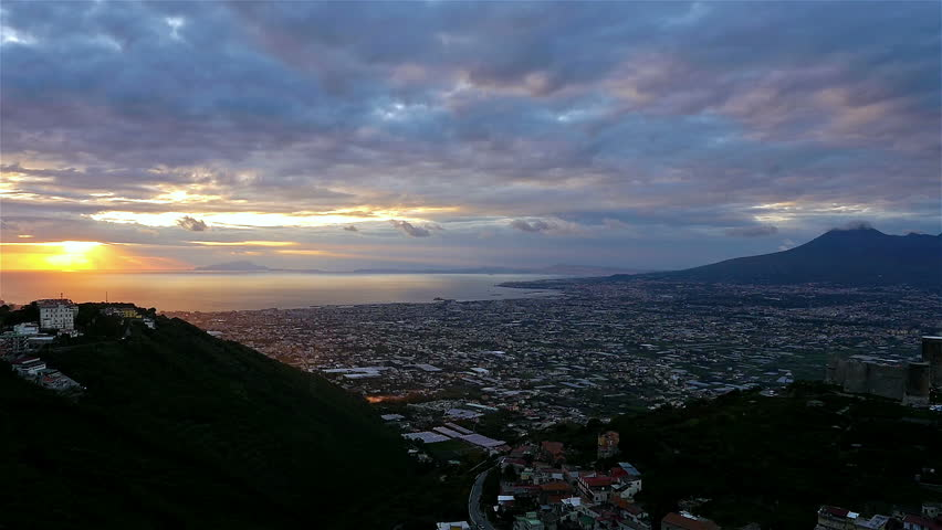 Time lapse over Pompei valley, gulf of Naples and Mount Vesuvius at night