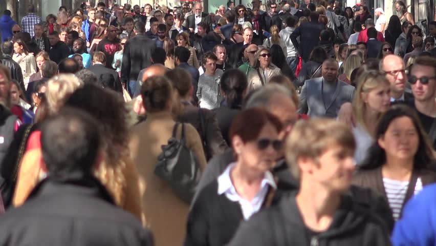 PARIS, FRANCE - OCTOBER 04: Crowded street with people