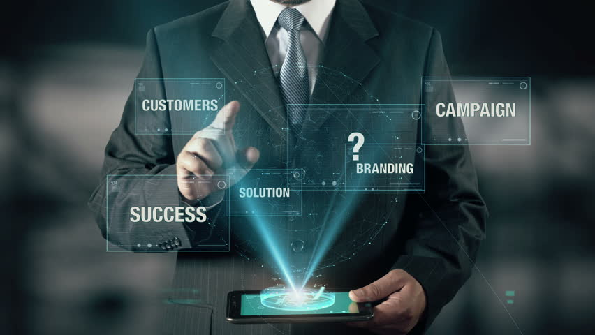 Businessman with Corporate Strategy concept choose from Branding Solution Campaign Customers using digital tablet | Shutterstock HD Video #21400012