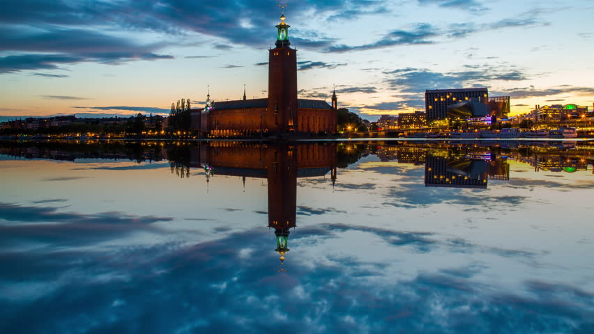 Time lapse of Stockholm's most famous landmark, The City Hall. This is where the Nobel prize banquet takes place every year. Vertical panning.